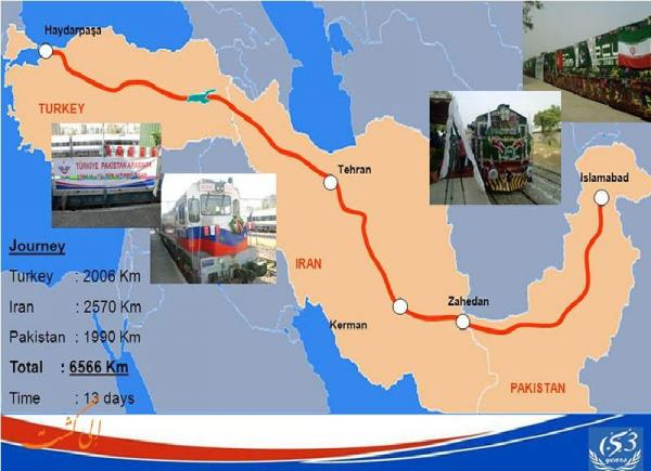 اتصال ریلی ایران، ترکیه و پاکستان به راه ابریشم چین